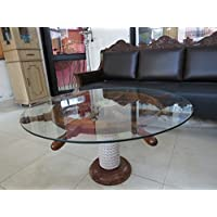 SAILORS SPECIAL Nautical 36 Ship Wheel Table With Glass Top And Rope Base