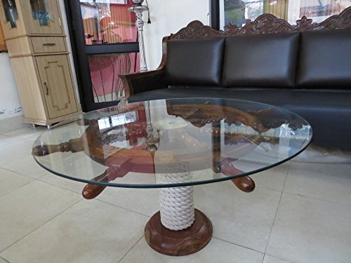 """SAILORS SPECIAL Nautical 36"""" Ship Wheel Table With Glass Top And Rope Base"""
