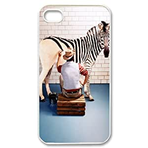 Case For iPhone 4/4s, painting a zebra Case For iPhone 4/4s, White