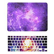 """Unik Case-2 in 1 13 Inch Galaxy Graphic Rubberized Hard Case & Silicone Skin for Macbook 13"""" Air A1369/A1466 Shell Cover-Purple"""