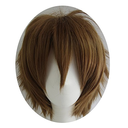 Alacos Short Fashion Dark Brown Layered Anime Cosplay Wig Halloween Christmas Carnival Dress up Pretend Play Party Wig Gift+Cap -