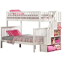 Woodland Staircase Bunk Bed with Raised Panel Trundle Bed, Twin over Full, White