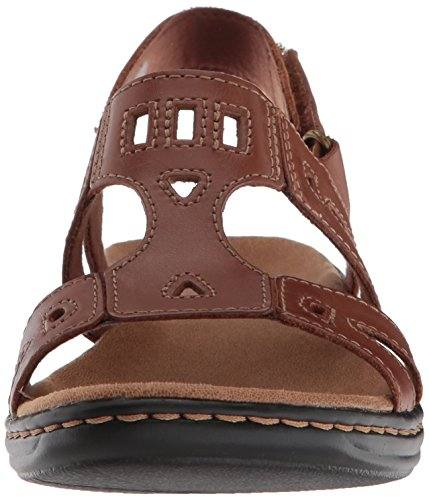 CLARKS Womens Leisa Annual Sandal, Tan Leather, 9.5 Medium US