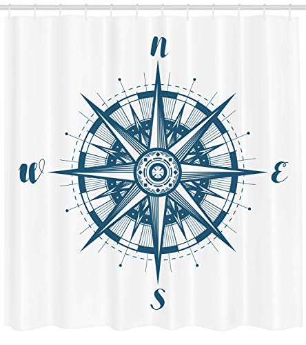 Lunarable Vintage Nautical Tattoo Shower Curtain, Cardinal Directions Compass Rose Monochrome Simplistic Pattern, Cloth Fabric Bathroom Decor Set with Hooks, 75 Inches Long, Sea Blue White]()