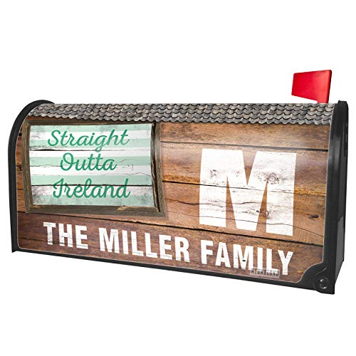 NEONBLOND Custom Mailbox Cover Straight Outta Ireland St. Patrick's Day Simple Light Green Stripes ()