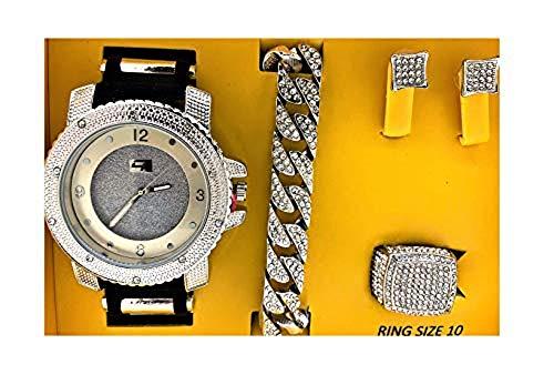 Bling-ed Out It's Lit! Hip Hop Watch & Jewerly Set w/Cuban Chain Bracelet, Kite Bling Earrings & Ring - GJM13 Silver