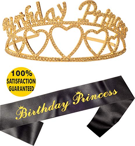 Birthday Princess Sash and Tiara, Birthday Girl Sash and Crown, Happy Birthday Party Supplies, Favors, Decorations 9, 10, 11 13th, 16th, 21st, 30th, 40th, 50th, 60th, 70th, 80th, 90th Birthday (Gold))
