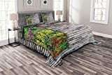 Lunarable Brick Wall Bedspread Set King Size, Tree with Colorful Spring Flowers from Window of Old Stone Wall Garden Theme, Decorative Quilted 3 Piece Coverlet Set with 2 Pillow Shams, Multicolor
