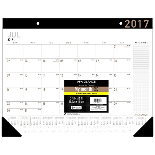 "AT-A-GLANCE Academic Desk Pad Calendar, July 2017 - June 2018, 22"" x 17"", Contemporary (AY24X00)"