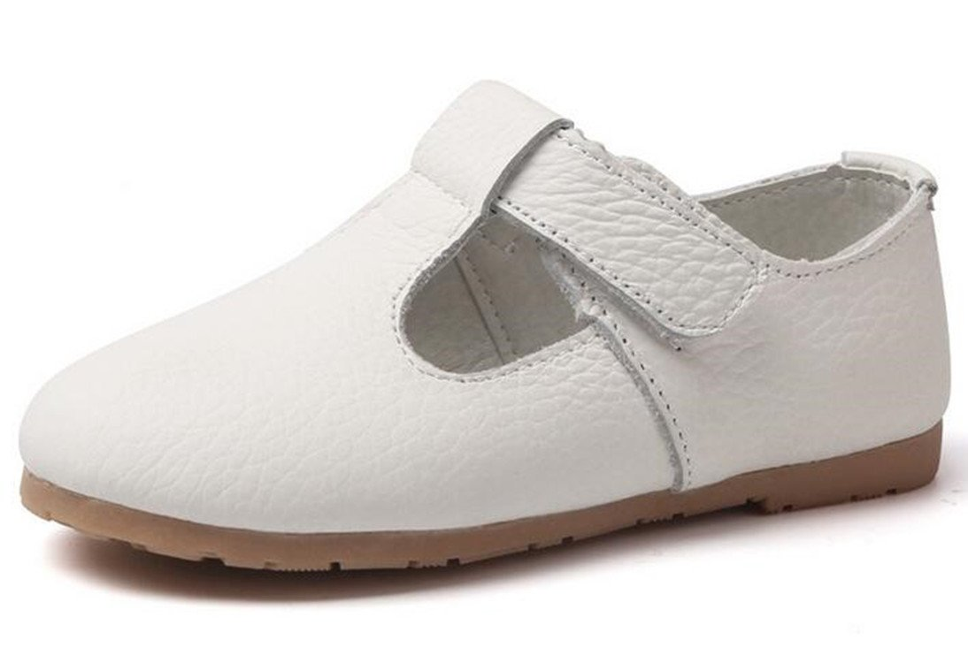 Bumud Kids Genuine Leather T-Strap Mary Jane Flat Walking Shoes Toddler/Little Girl (6 M US Toddler, White)