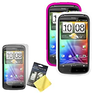 Cbus Wireless Two Silicone Skins / Cases / Covers (Hot Pink, White) & LCD Screen Guard / Protector for HTC Sensation 4G