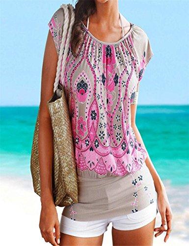 Donne Di Top collo Dreaman Della Manica Affascinante Confortevole Modo Retro O Corta Molto Abito Spiaggia O Caldo Rosa Mini Casuale Stampa wq1xgI1ntp