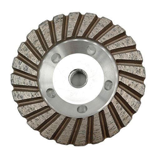 SHDIATOOL 4 Inch Diamond Grinding Cup Wheel for Granite Marble Concrete Brick Lower Noise Alu Based Turbo Cup Disc Thread 5/8-11 Grit 50 ()