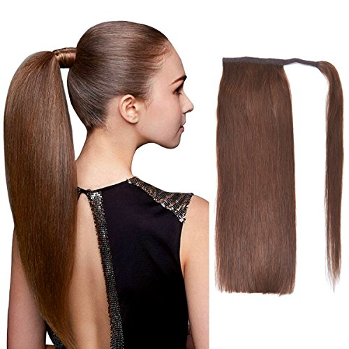 "22"" Human Hair Ponytail Wrap Around Clip in Ponytail Hair Extensions for Women Chocolate Brown(#4) 100g/3.5oz from BHF"