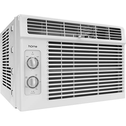 - hOmeLabs 5000 BTU Window Mounted Air Conditioner - 7-Speed Window AC Unit Small Quiet Mechanical Controls 2 Cool and Fan Settings with Installation Kit Leaf Guards Washable Filter - Indoor Room AC