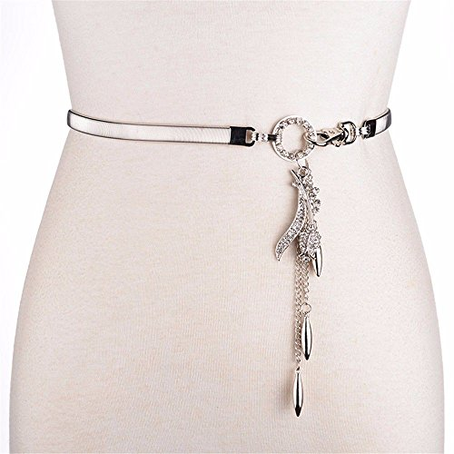 LONFENN The Metal Spring waist chain insert drill mount fall into the lap of the trim skirt elastic waist chain sweater chain girl, Silver/rose,