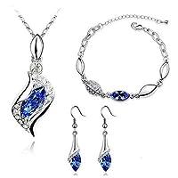 HSG Dark Blue Necklace Bracelet Earrings Tear Drop Royal Blue Jewelry Set