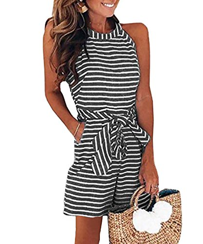 Ru Sweet Women Striped Waist Belted Zipper Back Short Jumpsuit Rompers with Pockets (Belted Straw Belt)