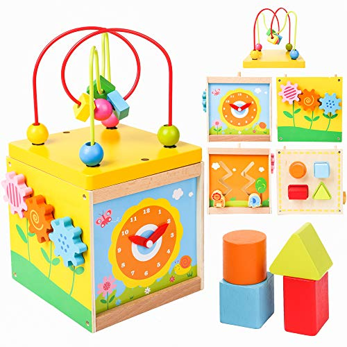 PROLOSO Wooden Activity Cube Educational Center Bead Maze Box Multi-funtional Educational Play Cube Toys for Kids Toddlers