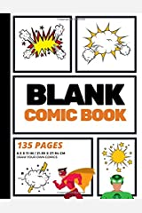 Blank Comic Book: Create Your Own Comic Strip, Blank Comic Panels, 135 Pages, Orange (Large, 8.5 x 11 in.) (Action Comics) (Volume 2) Paperback
