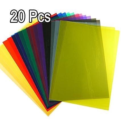 Amazon.com : Lieomo 20Pcs Tinted Color Plastic Film Sheet ...