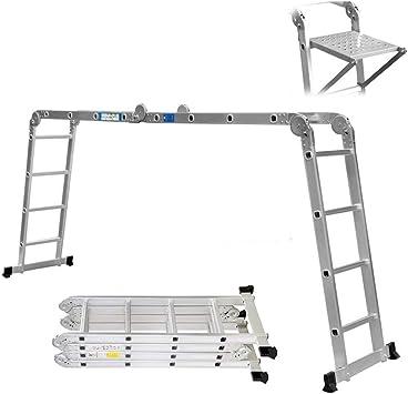 Escalera extensible telescópica de casa portátil de aluminio plegable Climb 13 pasos luz peso kg – altura de 3,8 M/carga para Multi Purpose UK Stock: Amazon.es: Bricolaje y herramientas