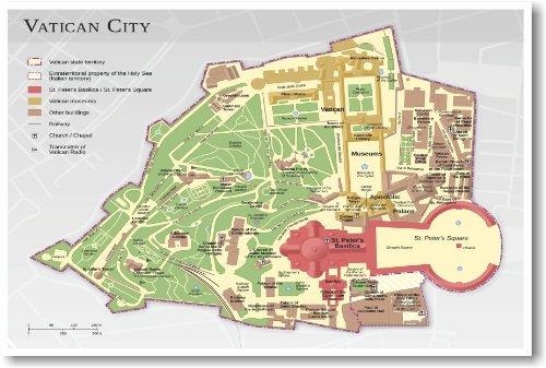 Vatican City Map - NEW World Travel Poster
