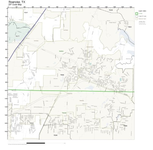 Roanoke Zip Code Map.Amazon Com Zip Code Wall Map Of Roanoke Tx Zip Code Map Not