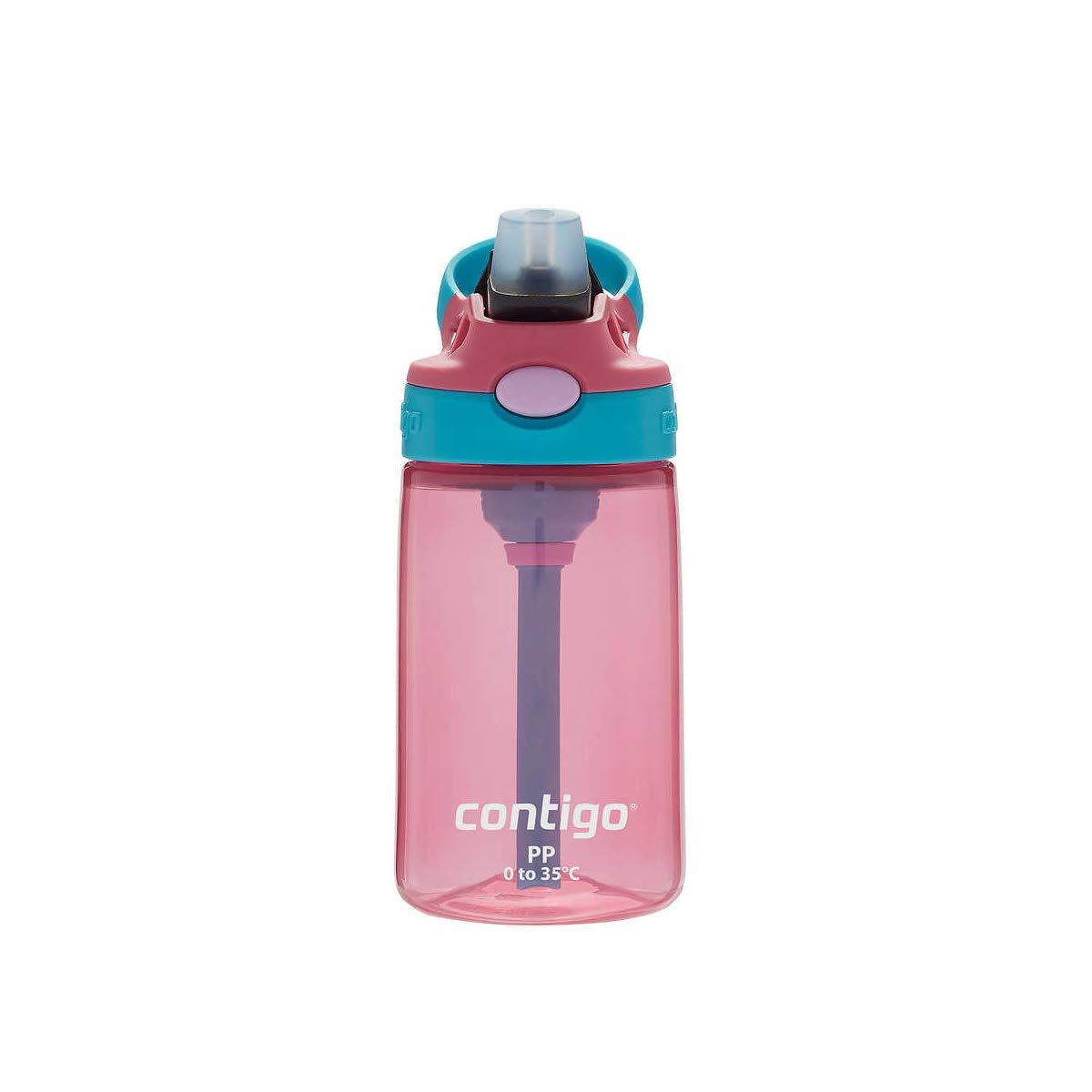 Contigo Kids Autospout Gizmo Water Bottles, 14oz (Cherry Blossom, 1 Pack)