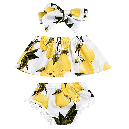 LucyGugo Newborn Baby Girls Summer Outfits Lemon Floral Print Off-Shoulder Tube Top+ Tassel Shorts with Headband 3PCS Clothes Set (0-6 Months) ()