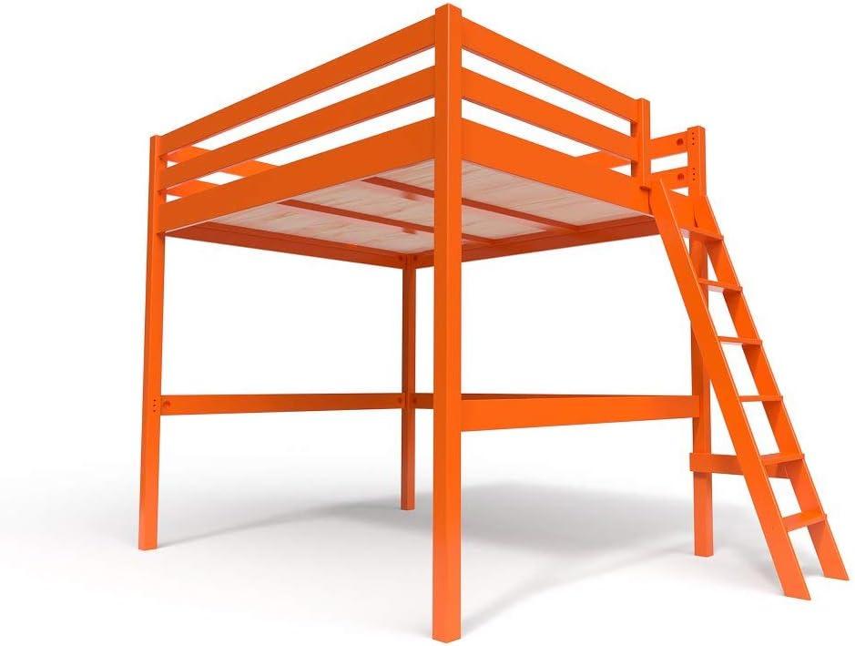ABC MEUBLES - Cama Alta Sylvia con Escalera - SYLVIAECH - Naranja, 160x200: Amazon.es: Hogar