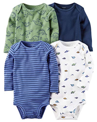 Carter's Baby Boys 4-pack Long-sleeve Bodysuits (3 months, Blue Dino)