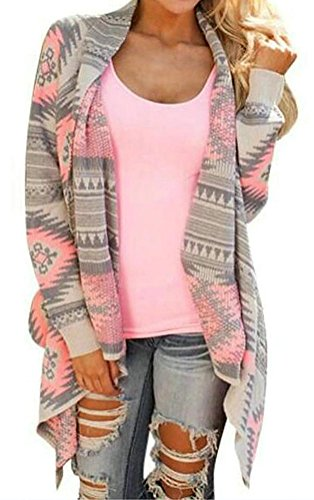 Myobe Women's Aztec Print Drape Open Front Drape Boyfriend Cardigan Sweaters,Pink red,Medium