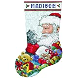 Tobin 14 Count Santa and Kitten Stocking Counted Cross Stitch Kit, 17-Inch Long