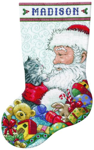 Tobin 14 Count Santa and Kitten Stocking Counted Cross Stitch Kit, 17-Inch Long Kitten Cross Stitch