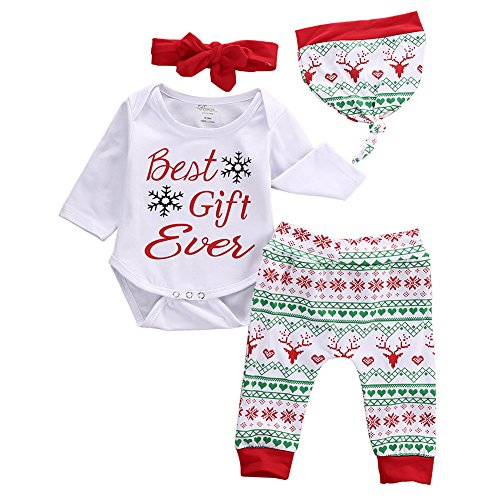 Best Baby Costumes Ever (Baby Girls Boys Christmas Best Gift Bodysuit Romper+Snowflake Pant+Hat+Headband 4PCS Outfits (0-3 Months, White))