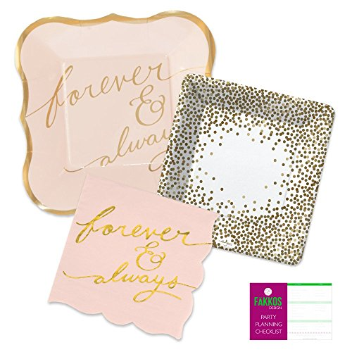 Bridal Shower Party Supplies Kit for 16 Guests - Forever and Always Themed Paper Plates, Napkins