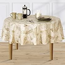 Boxed Fern Flannel Backed Vinyl Tablecloth Indoor Outdoor, 70-Inch Round, Taupe