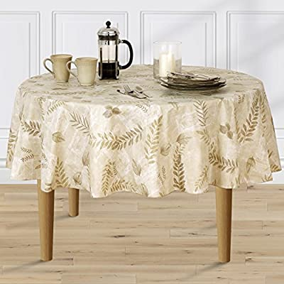 Ordinaire Amazon.com: Boxed Fern Flannel Backed Vinyl Tablecloth Indoor Outdoor, 90 Inch  Round, Taupe: Home U0026 Kitchen