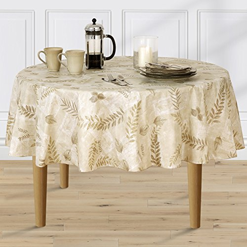 acked Vinyl Tablecloth Indoor Outdoor, 70-Inch Round, Taupe (Taupe Vinyl)