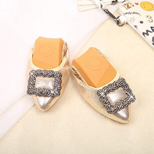 GAOLIM Zapatos De Mujer Para Otoño De Luz-Calzado Plano Punta Blanda De Los Zapatos De Mujer Embarazada Gran Número De Frijoles Zapatos Zapatos De Volumen El Oro