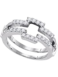 14kt white gold womens round diamond square wrap ring guard enhancer wedding band 12 - Wedding Ring Guard