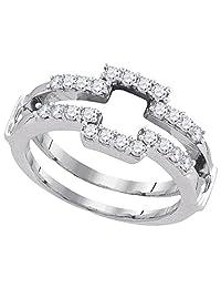 14kt White Gold Womens Round Diamond Square Wrap Ring Guard Enhancer Wedding Band 1/2 Cttw