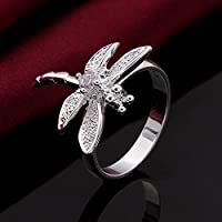 Women Girl Silver Plated White Crystal Dragonfly Ring Gift Size6-8 Party Jewelry (8)