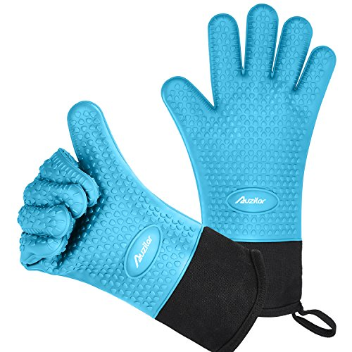 Auzilar Silicone Cooking Gloves, Grilling Gloves, Heat Resistant Gloves BBQ Kitchen Silicone Oven Mitts, Long Waterproof Non-Slip Potholder for Barbecue, Cooking, Baking ()