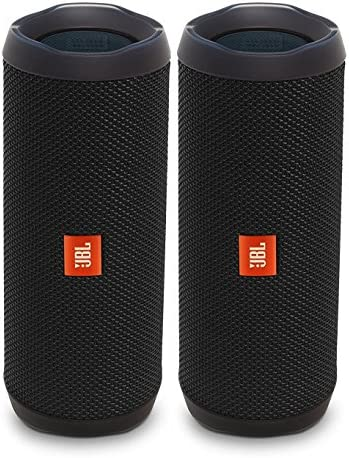 JBL Flip 4 Waterproof Portable Wireless Bluetooth Speaker Bundle – Pair Black