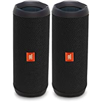 JBL Flip 4 Waterproof Portable Bluetooth Speaker, Black (Pair)