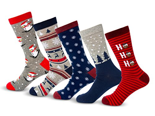 Charles Richards Mens Christmas Holidays Cotton Crew Snowman Socks 5-Pack