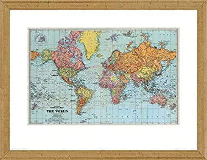World maps poster art print and frame mdf victorian gold general world maps poster art print and frame mdf victorian gold general map of gumiabroncs Choice Image