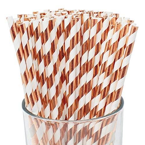 Just Artifacts 100pcs Premium Biodegradable Striped Paper Straws (Striped, Metallic Rose Gold) -